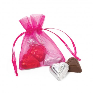 Chiffon Pouch with Chocolate Hearts