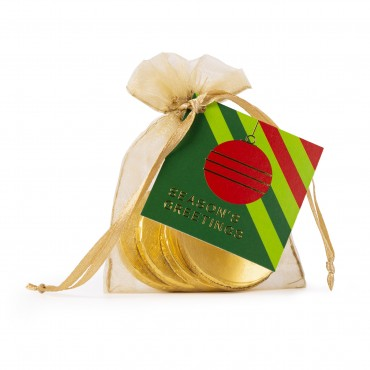 Belgian Milk Chocolate Coins in Chiffon Pouch