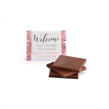 Welcome Deluxe Chamomile Raspberry Milk Chocolate Square