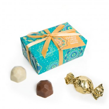 6pc Teal Gift Wrap Truffle Boxes