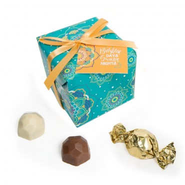 9pc Teal Gift Wrap Truffle Boxes