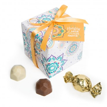9pc White Gift Wrap Truffle Boxes