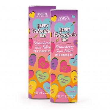 Valentine's Day Belgian Chocolate Bars Strawberry Jam Filled Milk Chocolate