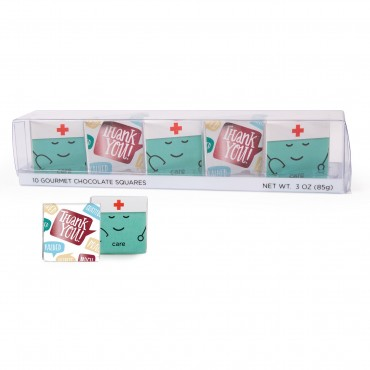 10 pc Showcase with Care and Thank You Nurses Deluxe Chocolate Thins